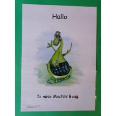 A3 Wee MacNessie Hello Laminated Poster -  Scottish Gaelic