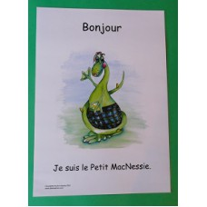 A3 Wee MacNessie Hello Laminated Poster -  French