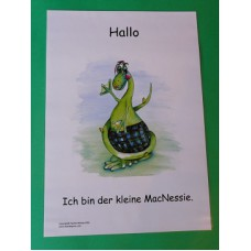 A3 Wee MacNessie Hello Laminated Poster -  German