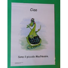 A3 Wee MacNessie Hello Laminated Poster -  Italian