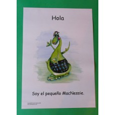 A3 Wee MacNessie Hello Laminated Poster -  Spanish